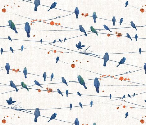 Evening Birds fabric by meliszawang on Spoonflower - custom fabric