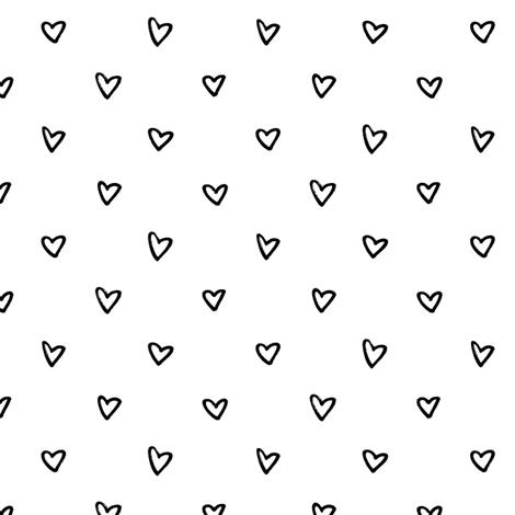 black white heart fabric by primuspattern on Spoonflower - custom fabric