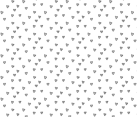 black white heart fabric by primuspattern on Spoonflower - custom fabric