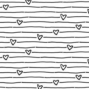 black white striped heart
