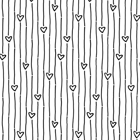 black white striped heart fabric by primuspattern on Spoonflower - custom fabric