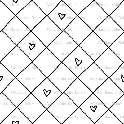 black white checkered heart