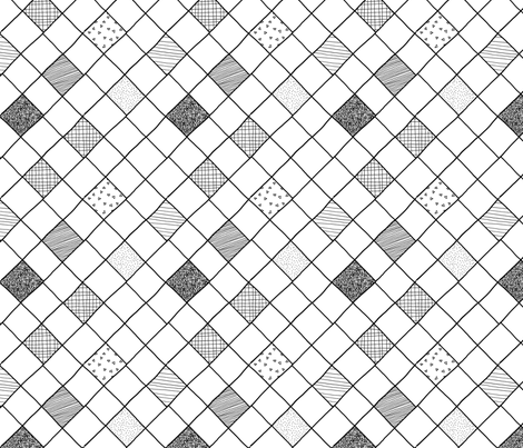 black white grid checkered texture fabric by primuspattern on Spoonflower - custom fabric