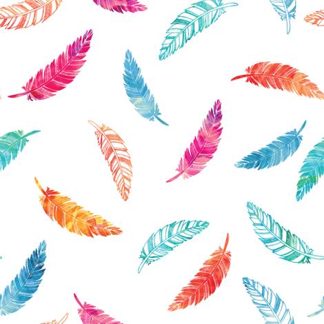 watercolor falling feathers fabric littlearrowdesign spoonflower