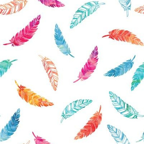 Watercolor falling feathers