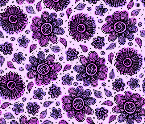 Watercolor Garden (Purple) fabric by robyriker on Spoonflower - custom fabric