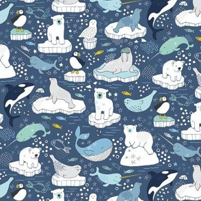 Arctic Animal Icebergs - blue and mustard  - Medium-Small
