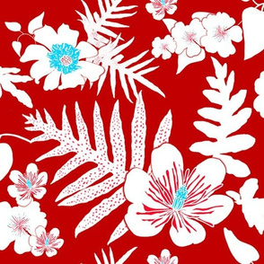 Red Bold Fern Floral 150