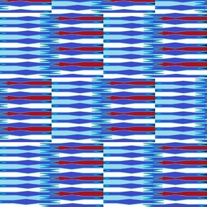Red and blue spiked stripes