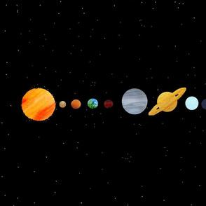 Watercolour Solar System