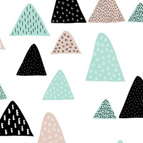 Abstract geometric triangle mountain peak winter Scandinavian style mint black and white