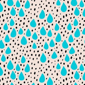 Abstract love and rain drops and dots geometric memphis style design blue black and white