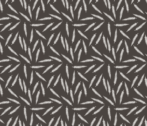 Rebel Feathers Deep Grey fabric by lisabarbero on Spoonflower - custom fabric