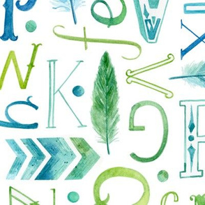 Watercolour Alphabet with Feathers and Arrows