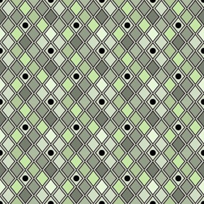 Harlequin Green Black Dots on Gray