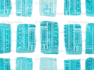 Watercolor Geometric Swimming Pools Blue
