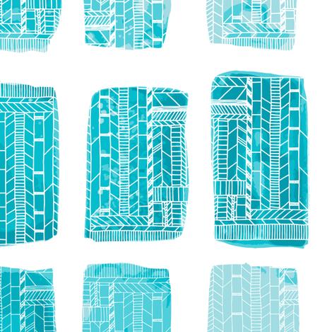 Watercolor Geometric Swimming Pools Blue fabric by tiffanyheiger on Spoonflower - custom fabric