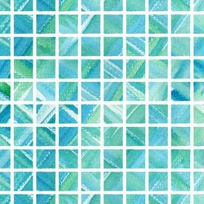 Watercolor Grid (Bright Turq)