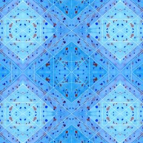 Geometrical Watercolor with Paint Splashes Blue