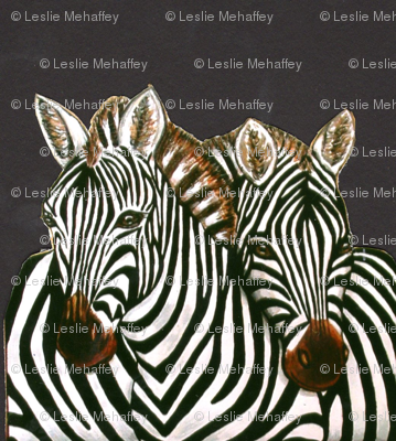 African Zebras on Charcoal
