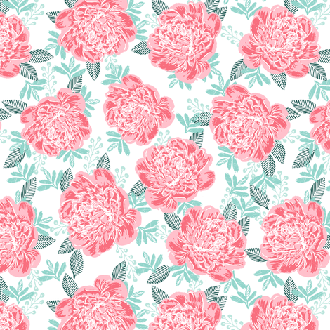 peonies girls watercolor sweet florals pink green girly vintage flowers spring adorable girls design fabric by charlottewinter on Spoonflower - custom fabric