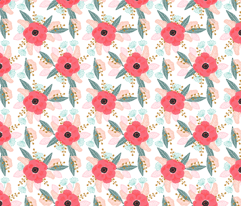 poppy flowers floral spring girls sweet vintage floral fabric by charlottewinter on Spoonflower - custom fabric
