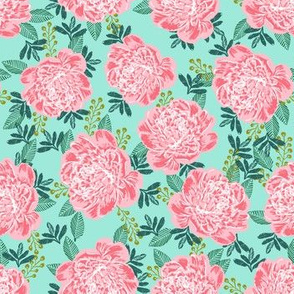 peony peonies girls mint and pink green and pink cute girls flowers florals
