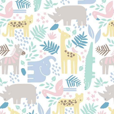 Safari animal nursery 1 fabric liagriffith spoonflower for Nursery fabric