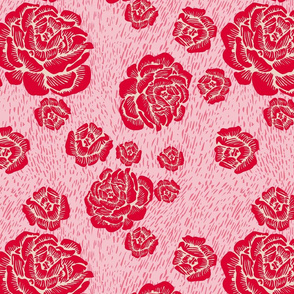 woodcut roses - red/pink