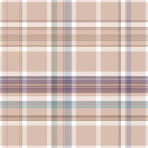 Beige Cream Blue Wine Plaid