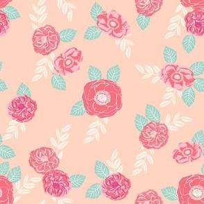 vintage flowers peach and pink florals spring blush peach girls