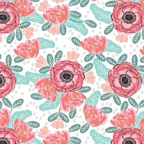 flowers florals  spring pink and mint girls springs cute girls room painted flowers
