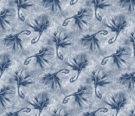 Hatched Magnolias - Matisse F fabric by siya on Spoonflower - custom fabric