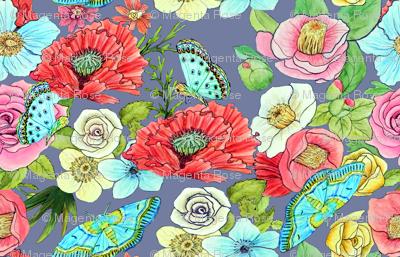 Watercolor Flowers & Butterflies in mid grey