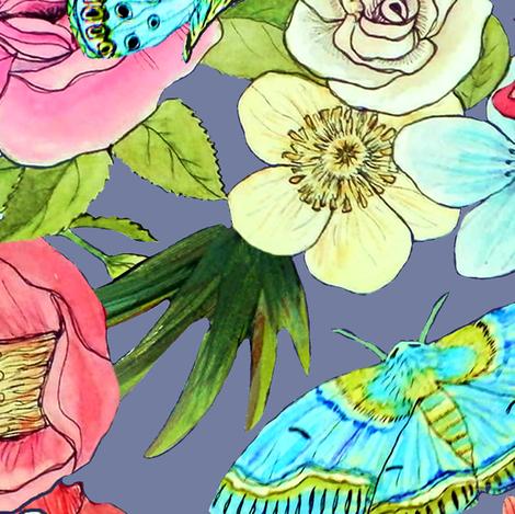 Watercolor Flowers & Butterflies in mid grey fabric by magentarosedesigns on Spoonflower - custom fabric