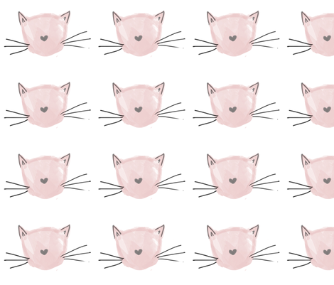 watercolorkitty fabric by almostnoelle on Spoonflower - custom fabric