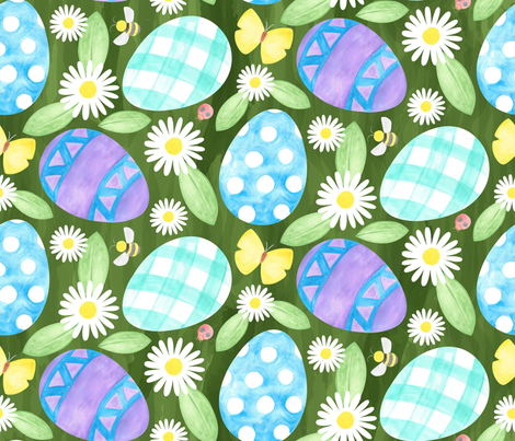 Watercolor Easter Eggs fabric by mia_valdez on Spoonflower - custom fabric