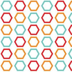Red, Orange, & Blue Hexagons on White