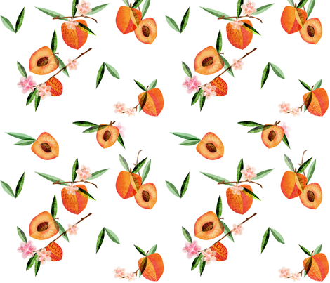 Peaches with space fabric by mulberry_tree on Spoonflower - custom fabric