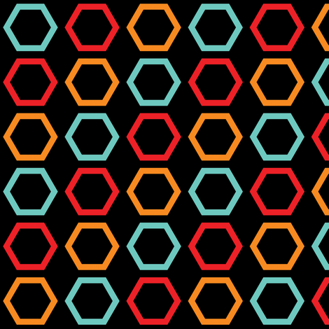 Red, Orange, & Blue Hexagons on Black  fabric by anniecdesigns on Spoonflower - custom fabric