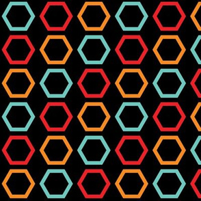 Red, Orange, & Blue Hexagons on Black