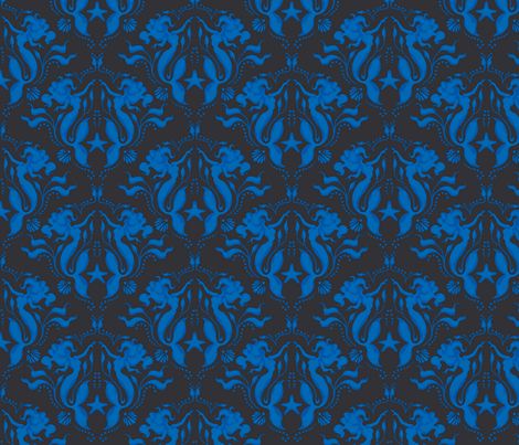 Mermaid Damask-Royal Blue/Black - PG fabric by sugarpinedesign on Spoonflower - custom fabric
