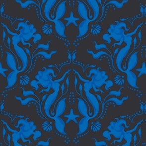 Mermaid Damask-Royal Blue/Black - PG