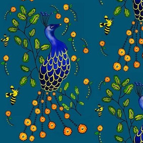 Watercolor Peacock Bold Bright  Flowers Bees