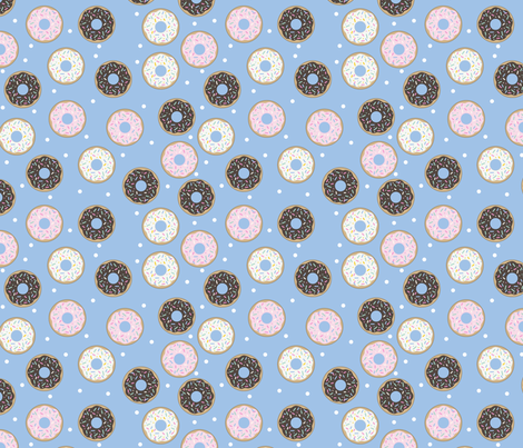 Donuts Blue with white confetti fabric by sylviaoh on Spoonflower - custom fabric