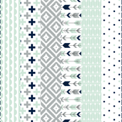 Wholecloth 1 yard cut // Cheater Quilt // navy,mint,grey