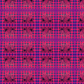 African Zebras in hot pink  Harlequin background