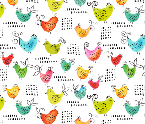 A little bird told me fabric by snowflower on Spoonflower - custom fabric