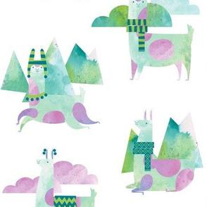 Watercolor Llamas