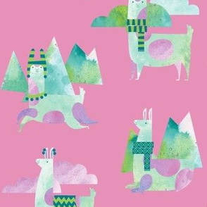 Watercolor Llamas in Pink!